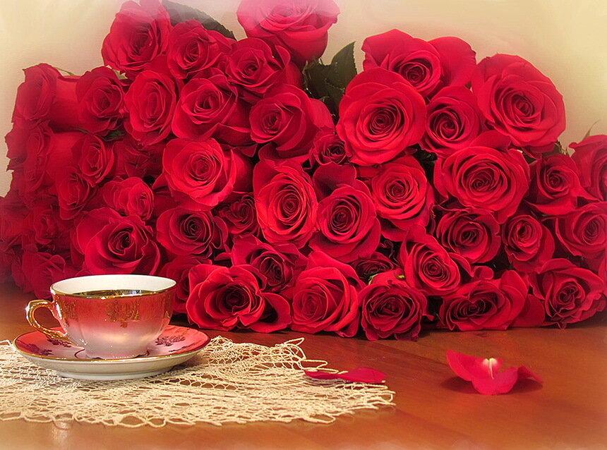 Большие букеты роз картинки с добрым утром